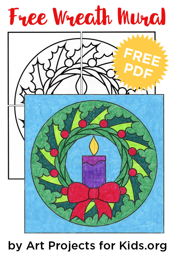 Free Christmas Wreath Mural 183 Art Projects For Kids