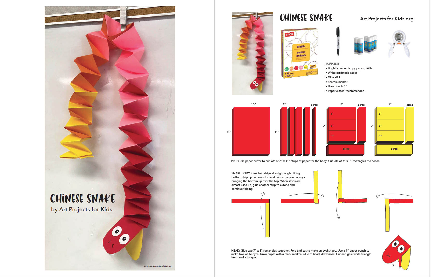 Chinese New Year Snake Tutorial Art Projects For Kids Advanced Origami Diagram The Lover My Sample Above Was Made With Two Long Strips That Had Nine 11 Lengths Glued Together As Shown In Photo