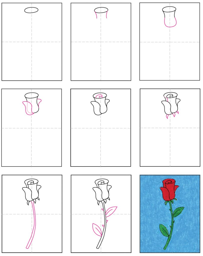Draw An Easy Rose Art Projects For Kids