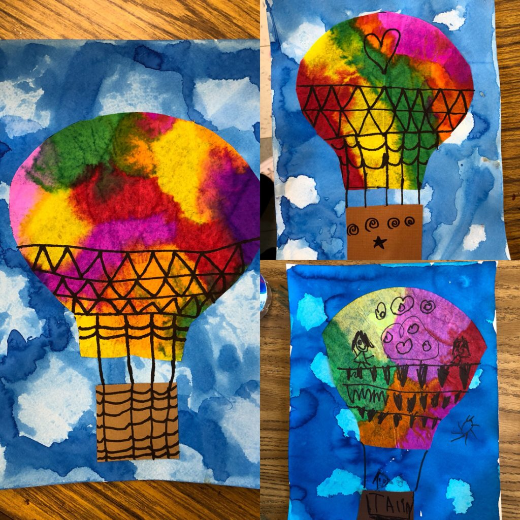 coffee filter art with hot air balloons art projects for