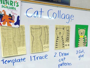 Newsprint Cat Collage Instructions