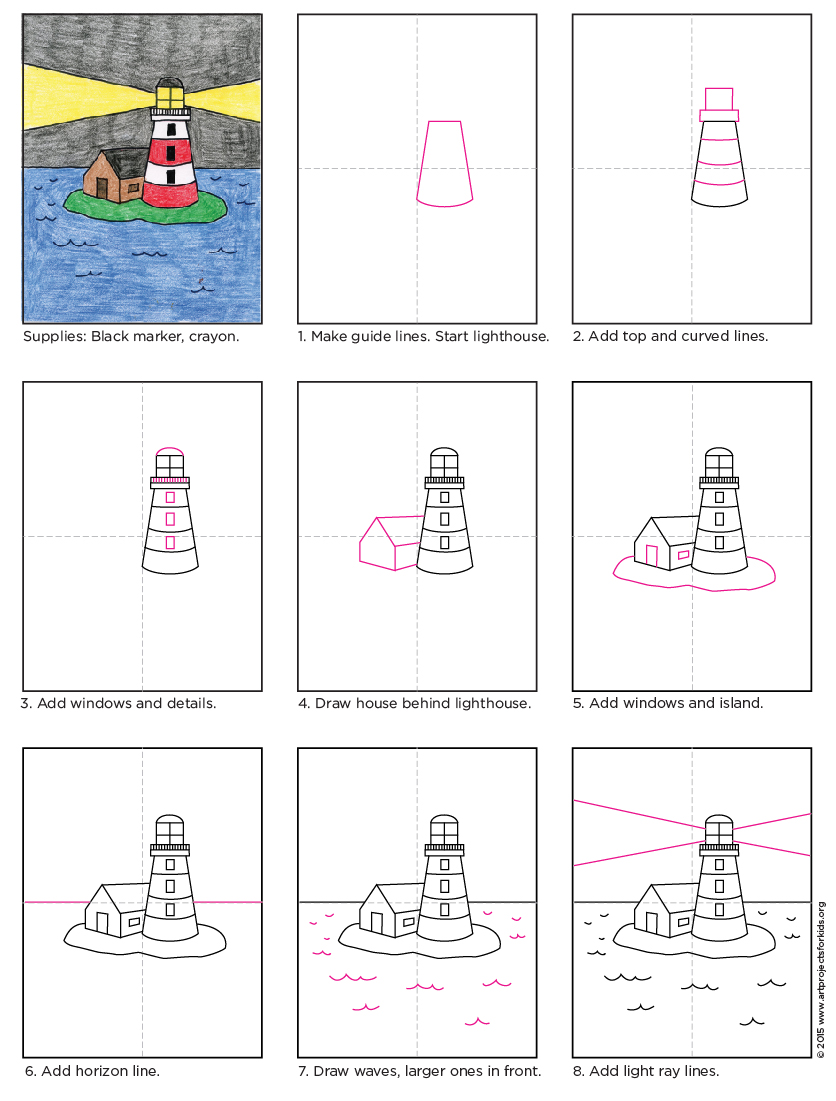 draw a lighthouse art projects for kids