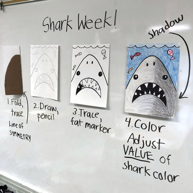 Simple Shark Drawing Art Projects For Kids