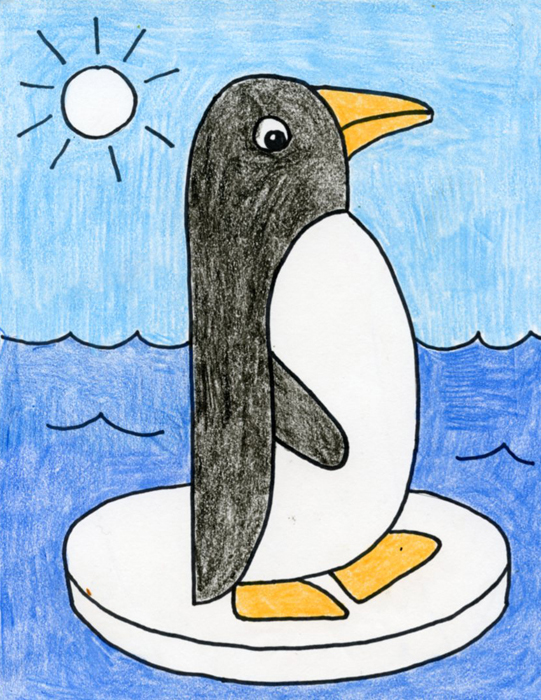 Draw Easy Penguin · Art Projects for Kids