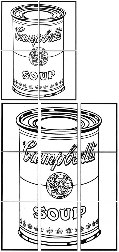 andy warhol art projects for kids, soup can diagrams