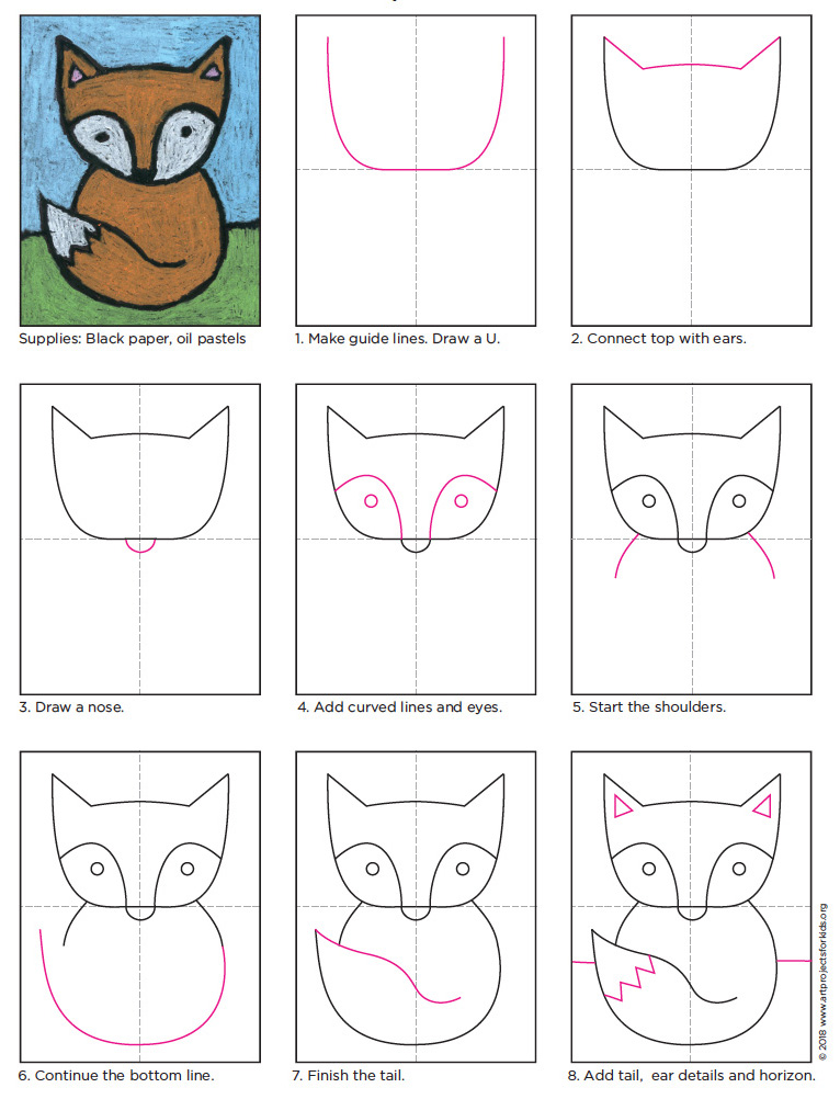 Baby Fox Drawing Art Projects For Kids