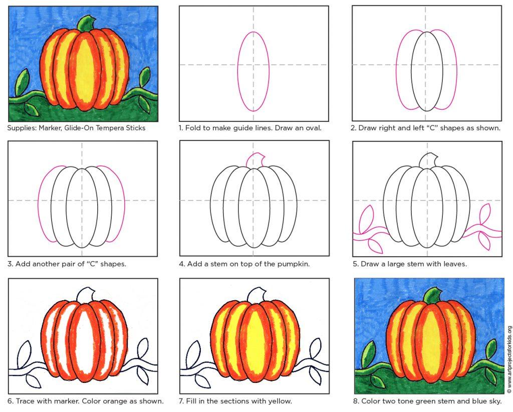Pumpkin Drawing: Kinder – 2nd Grade · Art Projects for Kids