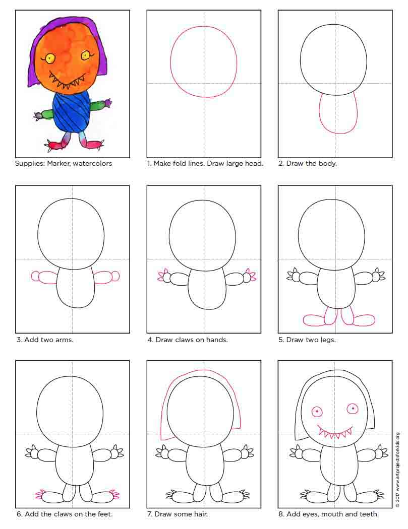 Cute Monster Drawings Art Projects For Kids