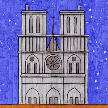how to draw Notre Dame