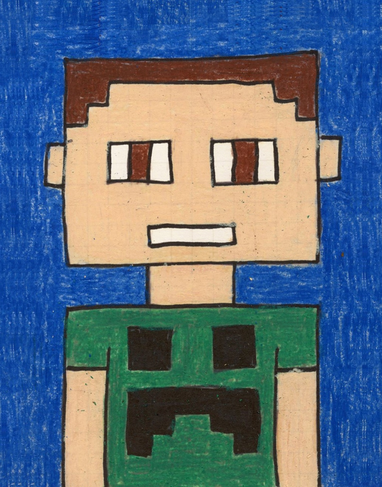 how to draw a Minecraft Selfie