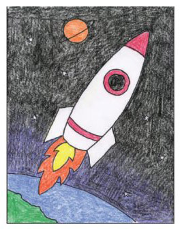 Draw An Easy Rocket Art Projects For Kids