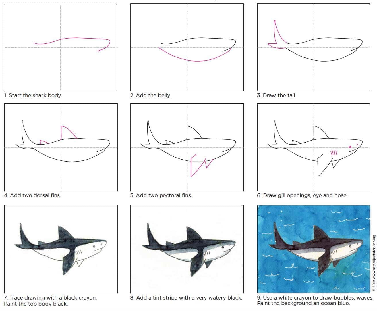 How to draw a shark · art projects for kids