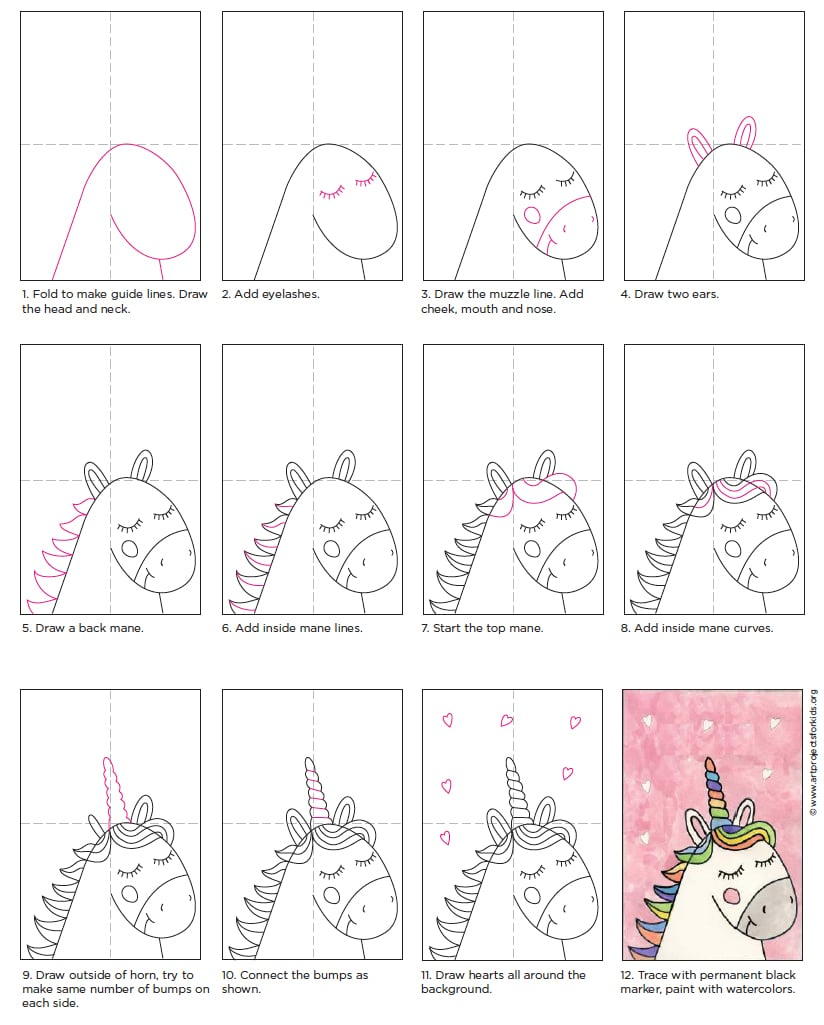 Easy Unicorn Drawing · Art Projects for Kids