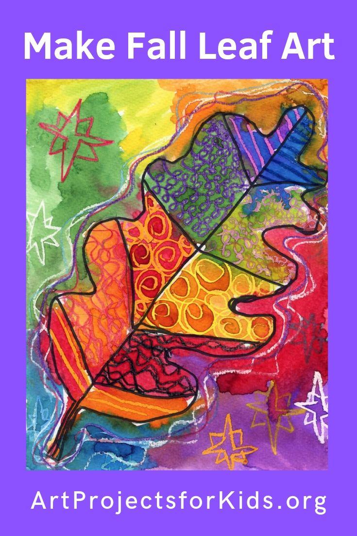 Leaf Pattern Watercolor Resist · Art Projects for Kids