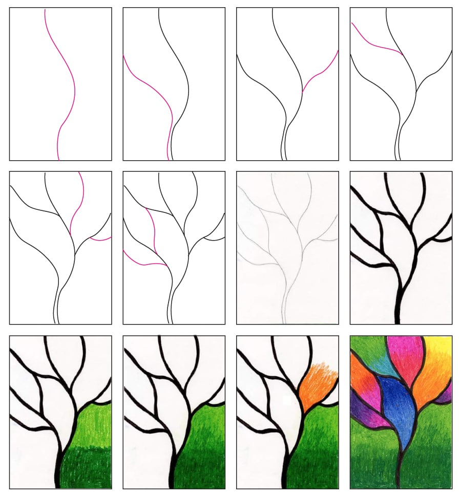Blended Oil Pastel Tree Art Projects For Kids