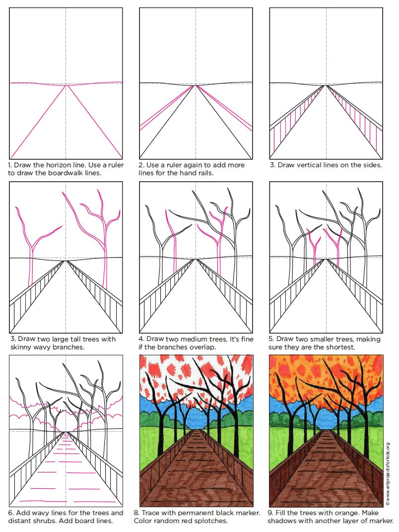 Perspective Drawing for Beginners · Art Projects for Kids Easy One Point Perspective Drawing For Kids