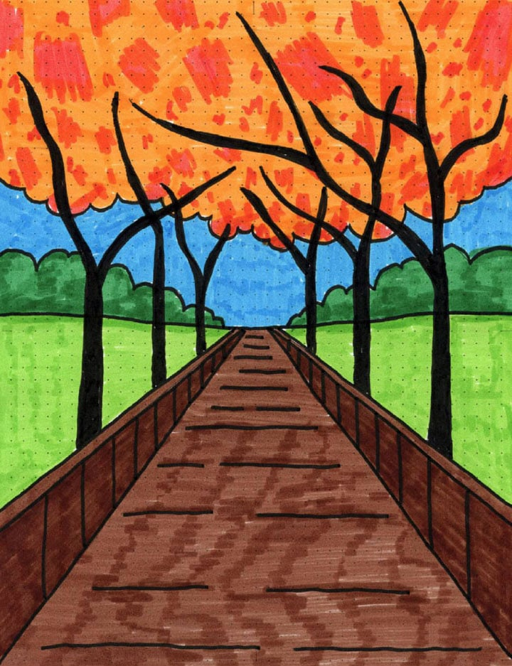 Perspective Drawing Boardwalk