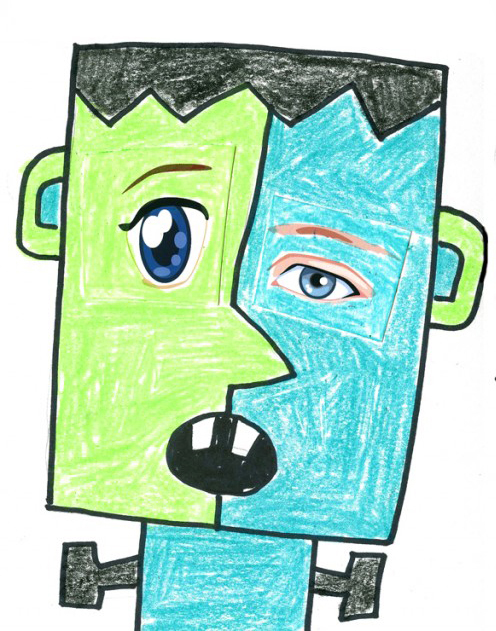 Frankenstein Fun Collage Art Projects For Kids