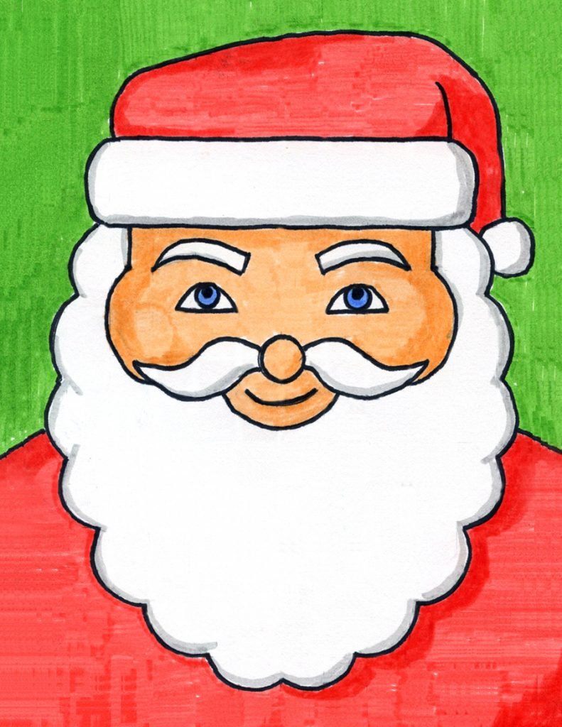 How to draw santa face