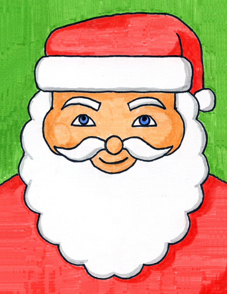how to draw santa s face art projects for kids how to draw santa s face art projects