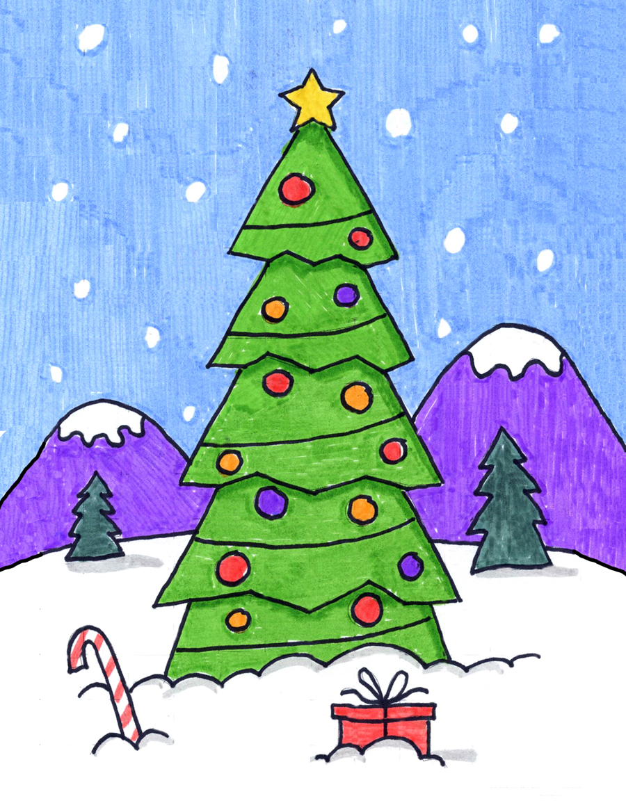 how to draw a christmas tree art projects for kids how to draw a christmas tree art