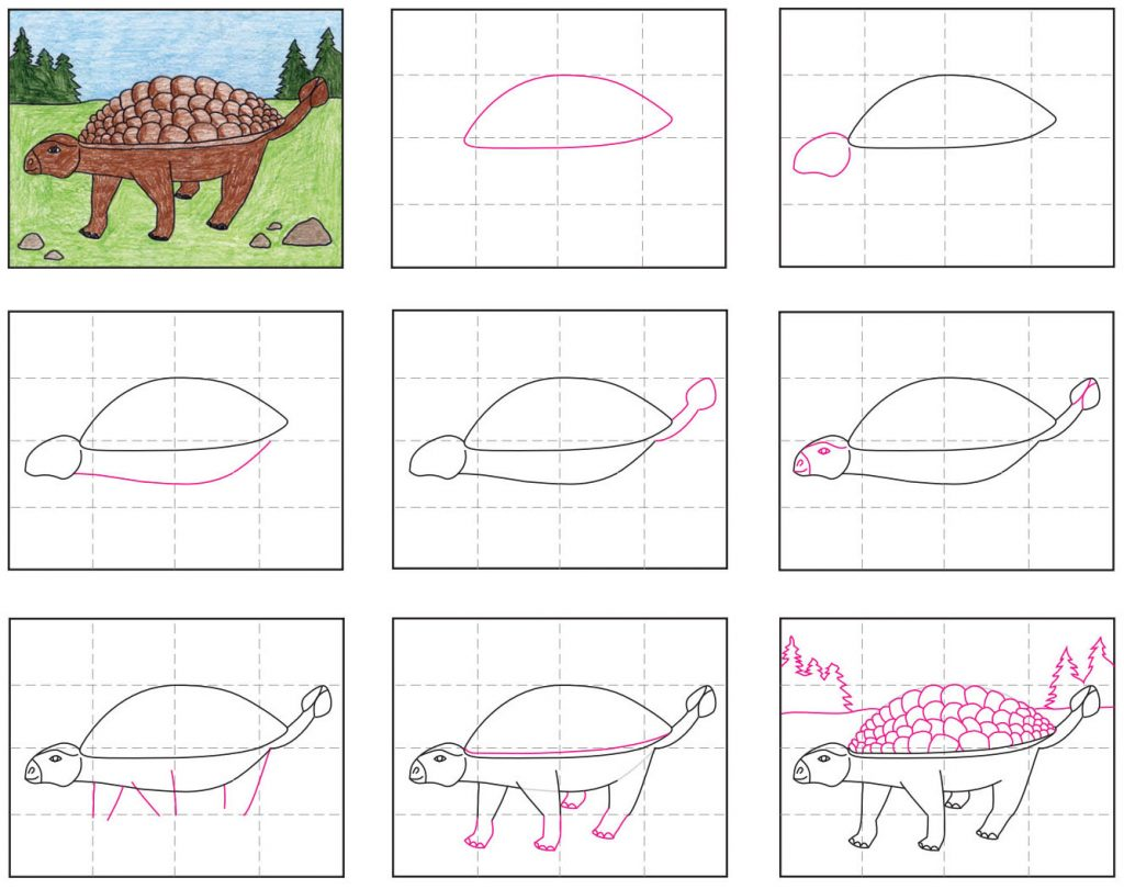 Draw an Ankylosaurus dinosaur