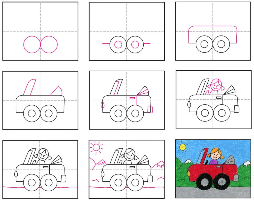 Draw A Cute Car Art Projects For Kids
