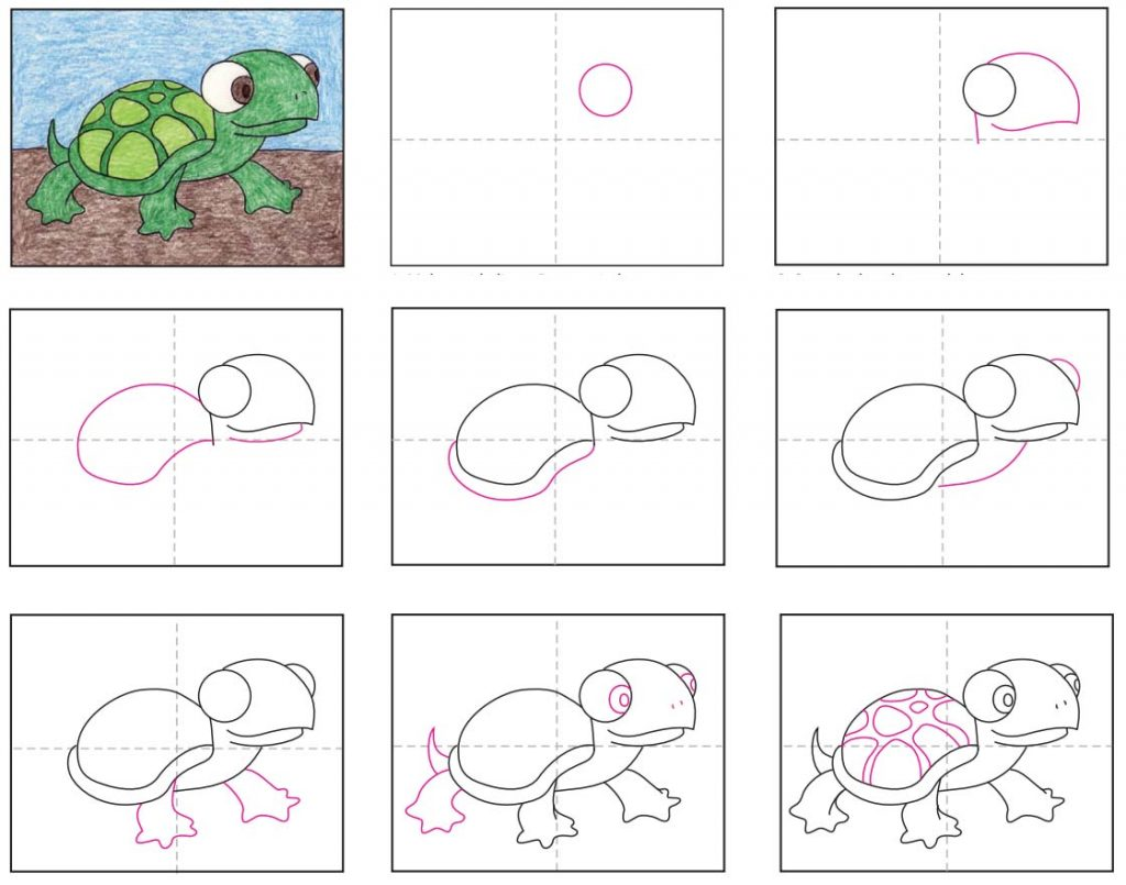 How To Draw A Cute Turtle Art Projects For Kids