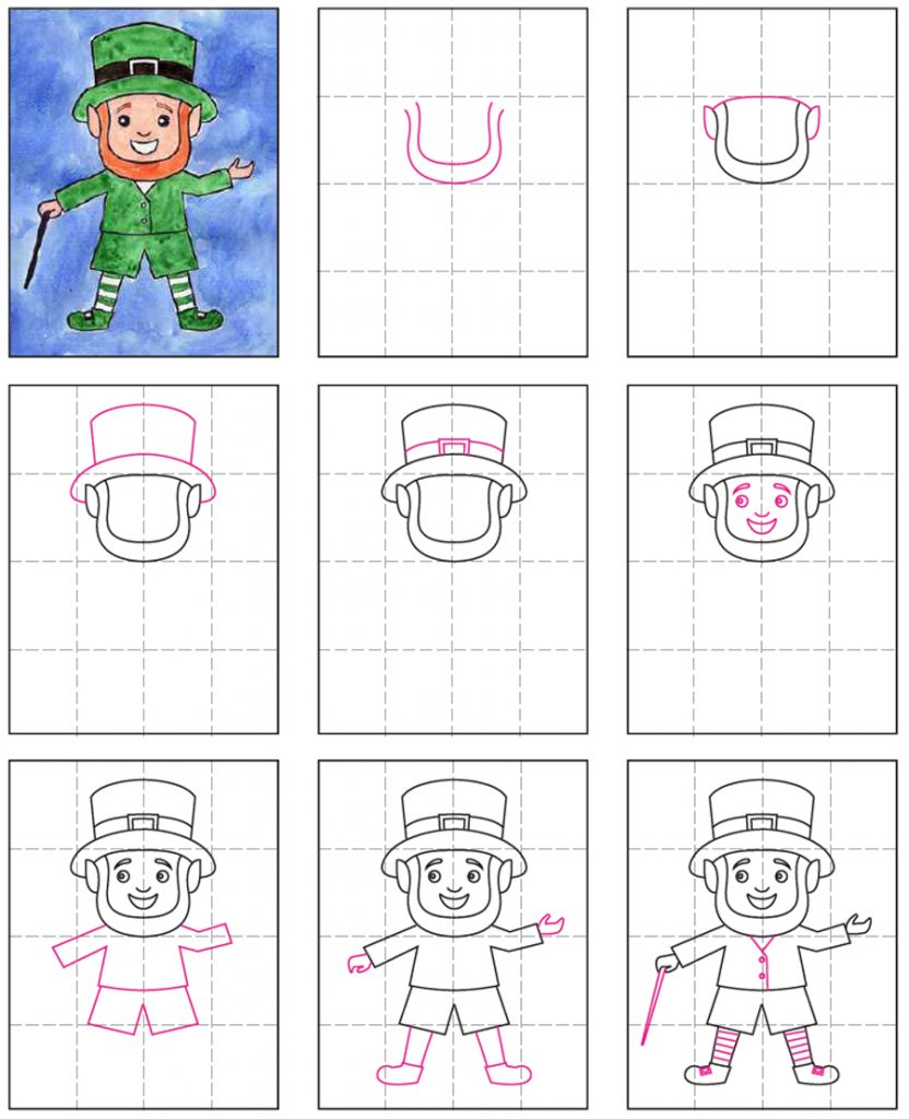 Draw A Leprechaun Art Projects For Kids