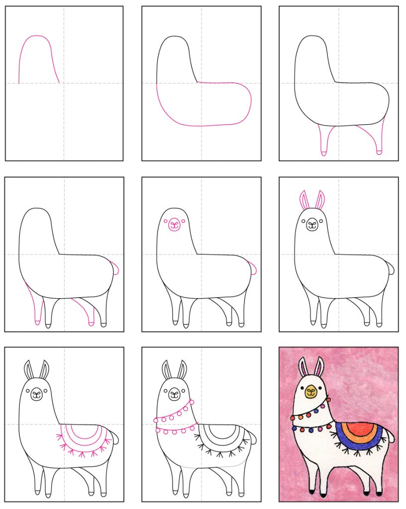 Here's an easy step-by-step how to draw a llama tutorial and llama coloring page. Stop by and download yours for free.