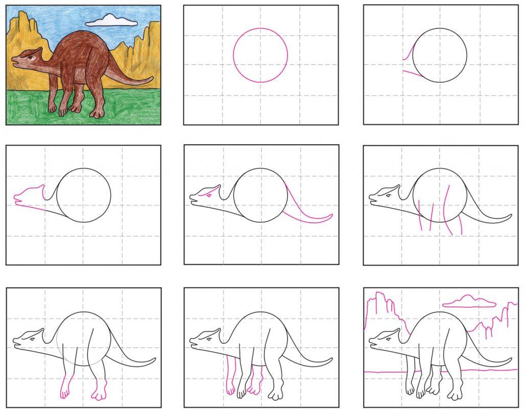 how to draw a saurolophus