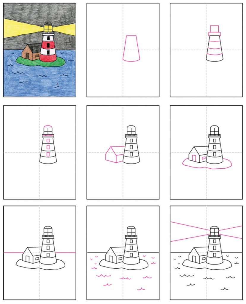 How To Draw A Lighthouse Art Projects For Kids