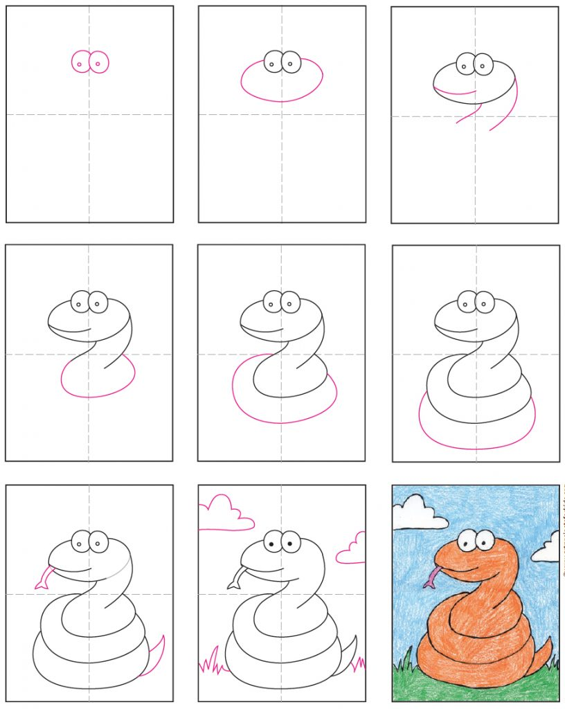 how to draw an easy snake
