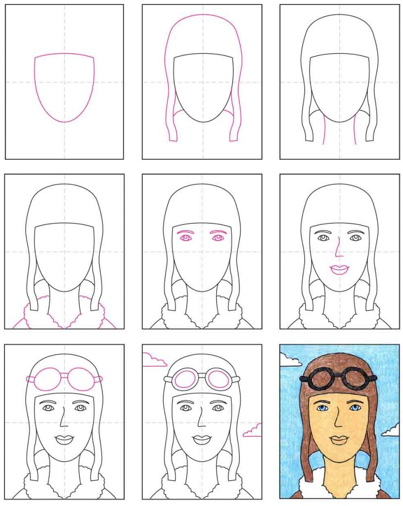 How To Draw Amelia Earhart  U00b7 Art Projects For Kids