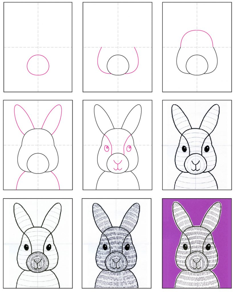 How To Draw A Bunny Face Art Projects For Kids