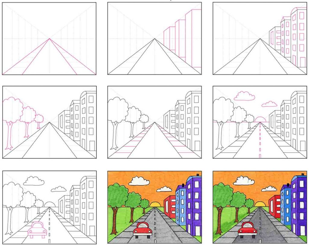 how to draw a city with one point perspective