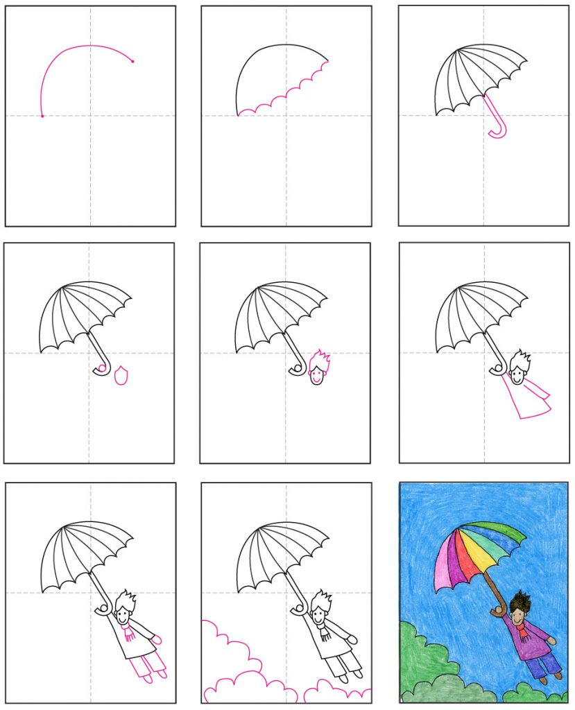 Draw a windy day with the help of a colorful umbrella.
