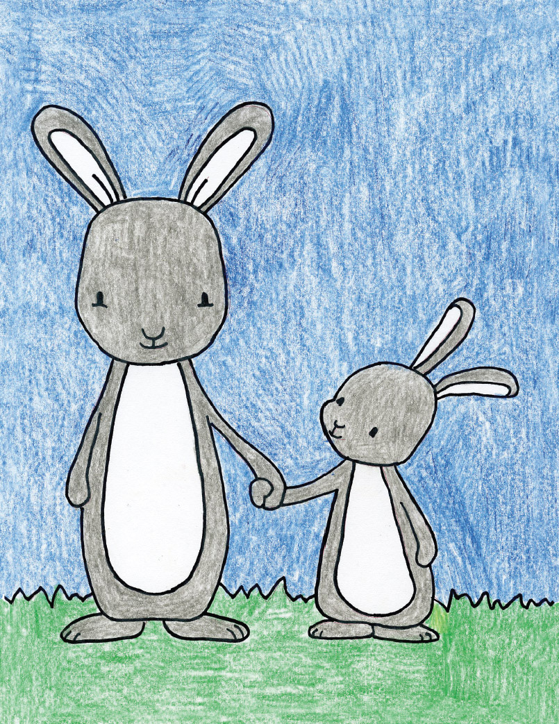 Draw a Mom and Baby Bunny · Art Projects for Kids