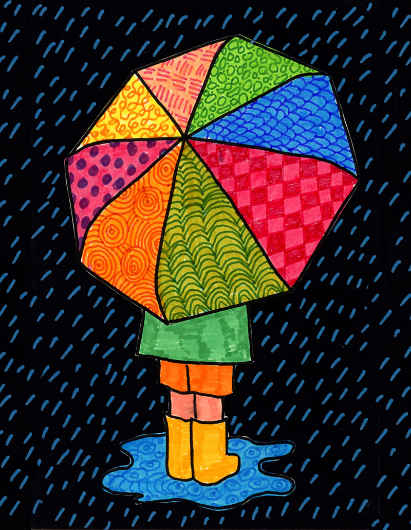 How To Draw An Umbrella Art Projects For Kids