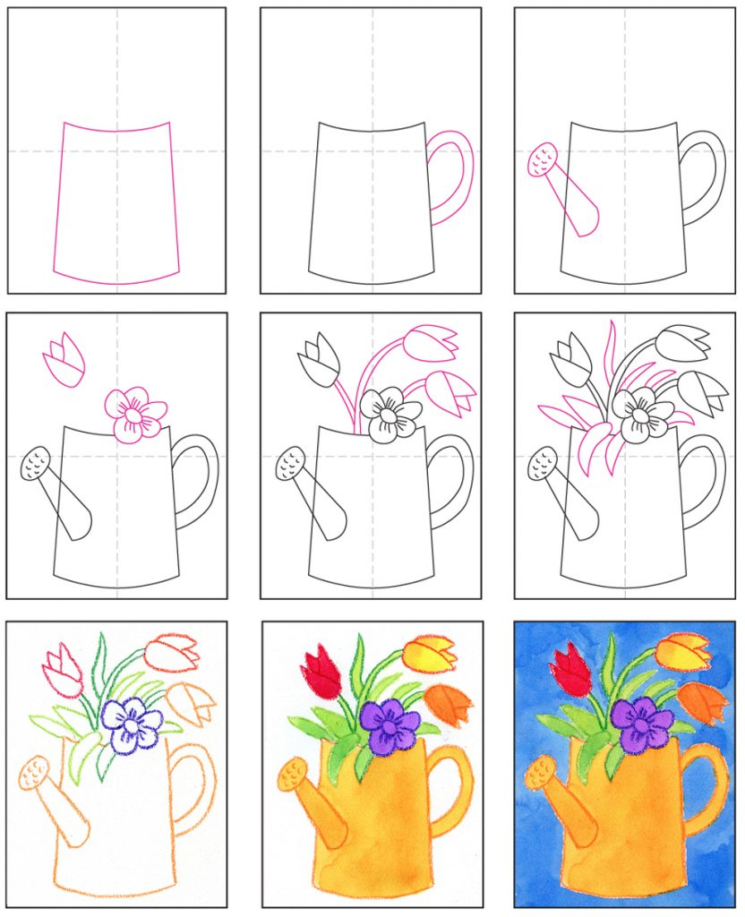 Draw a Watering Can with Flowers · Art Projects for Kids