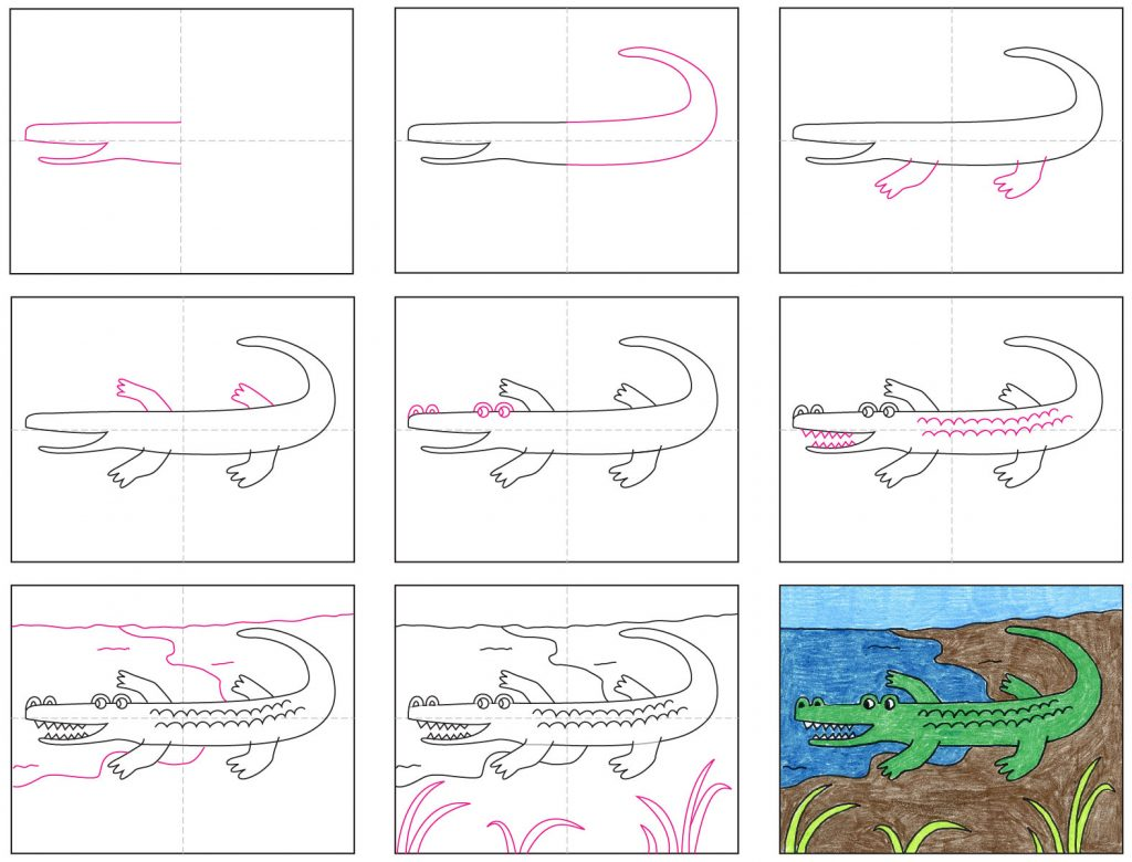 How to Draw an Alligator · Art Projects for Kids