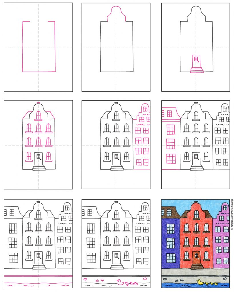 how to draw Dutch Houses