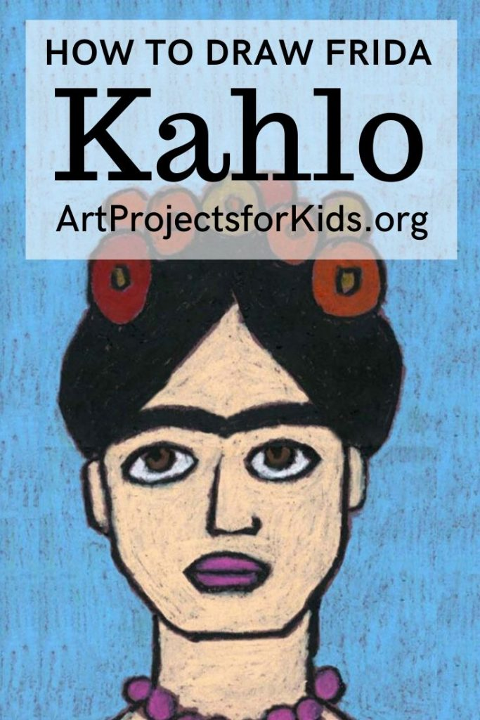 A fun and easy Frida Kahlo for Kids drawing project.