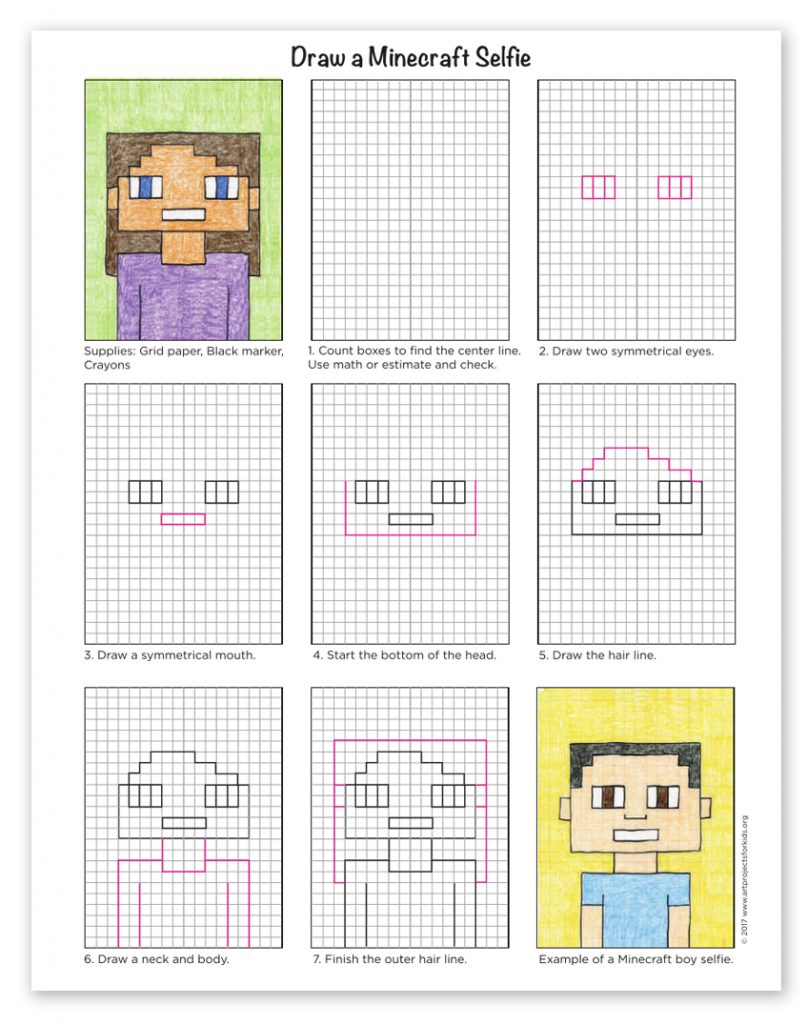 How To Draw A Minecraft Selfie Art Projects For Kids