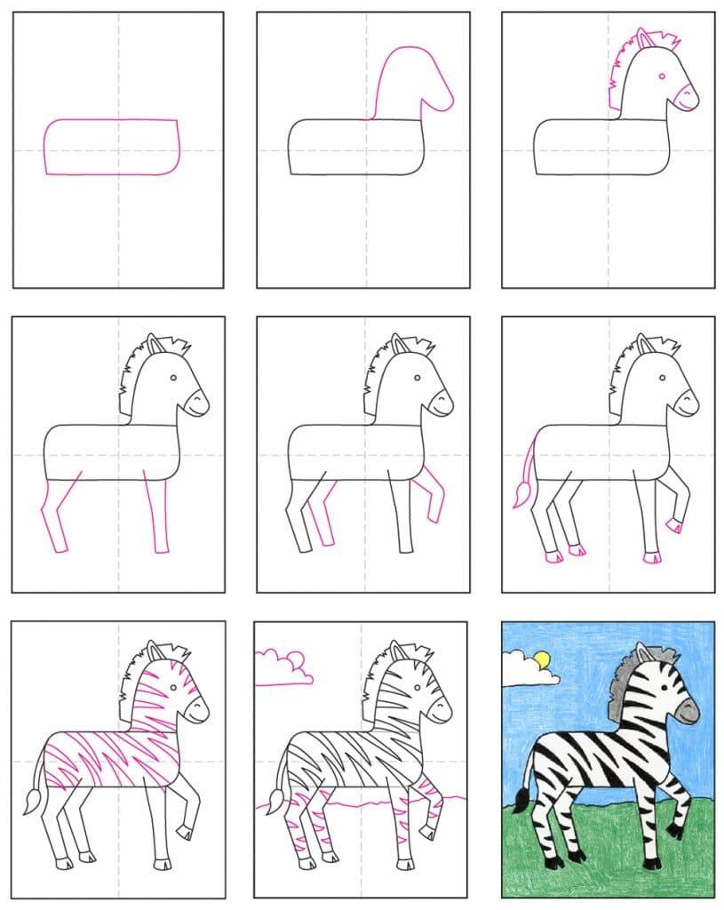 How To Draw A Zebra  U00b7 Art Projects For Kids