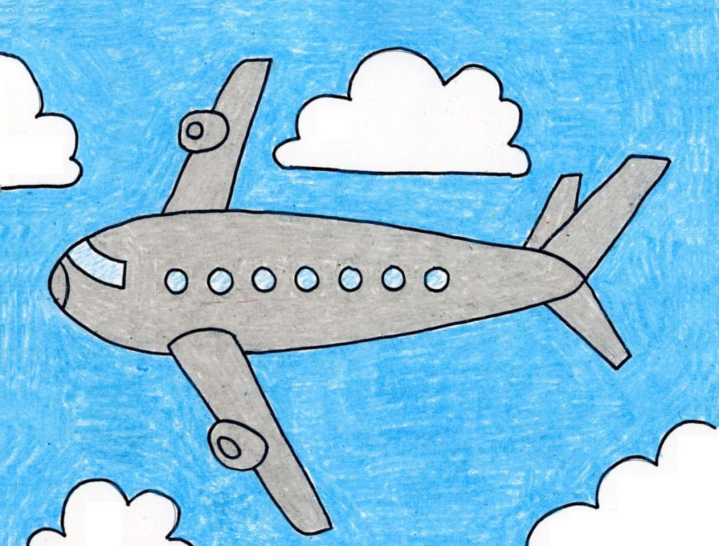 realistic airplane drawing with color