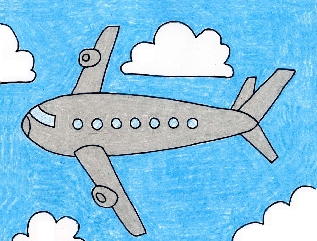 How To Draw An Airplane Art Projects For Kids