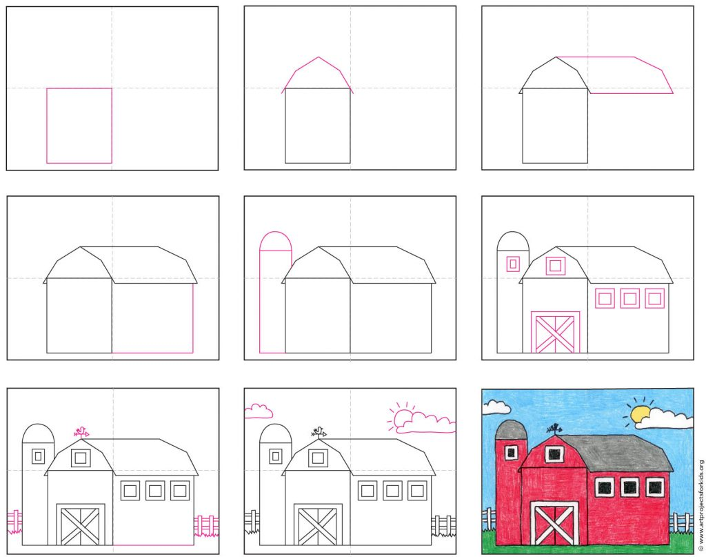 how to draw a barn