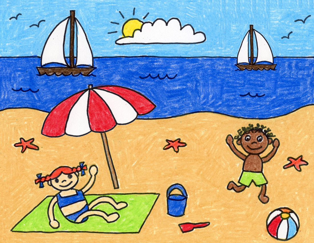 How To Draw A Beach Art Projects For Kids