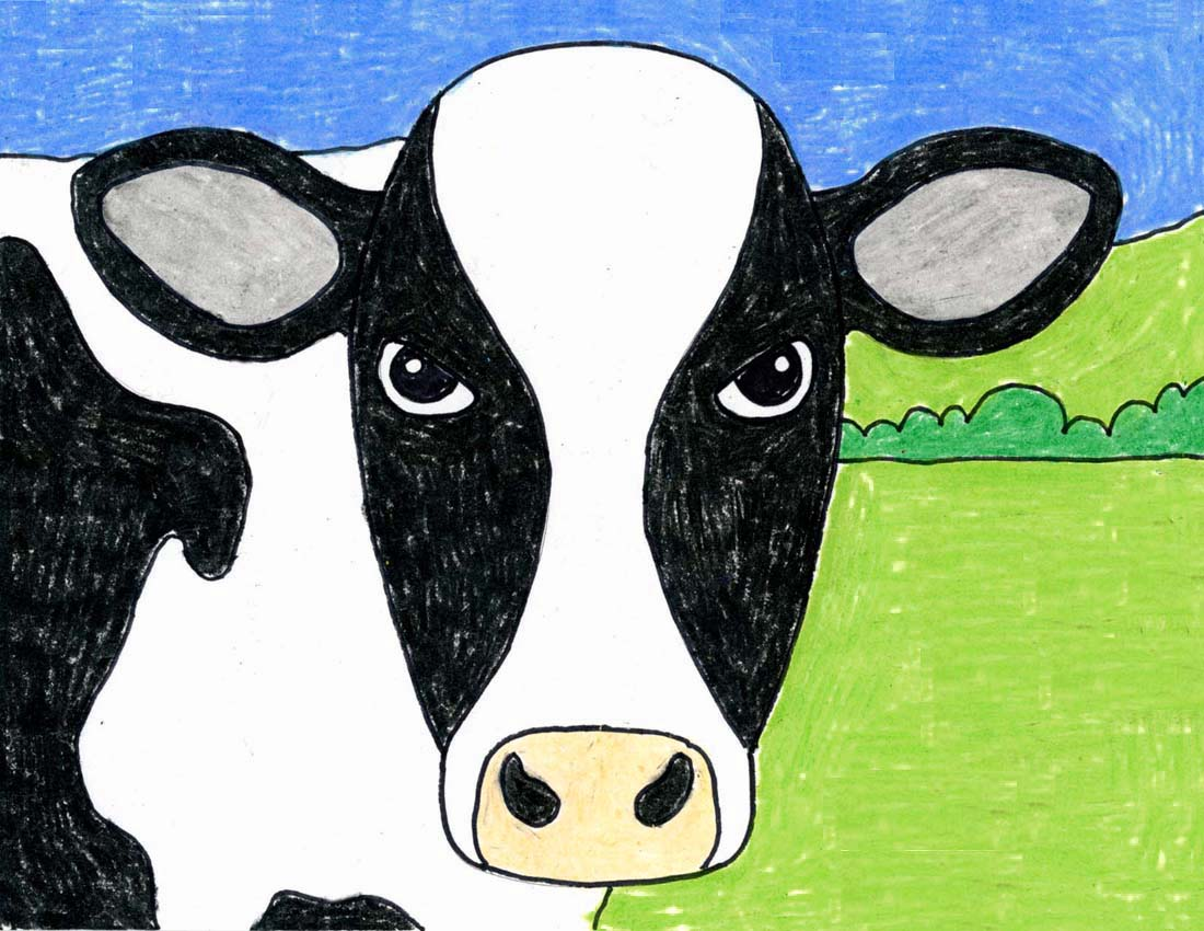 Draw an Easy Cow Face · Art Projects for Kids
